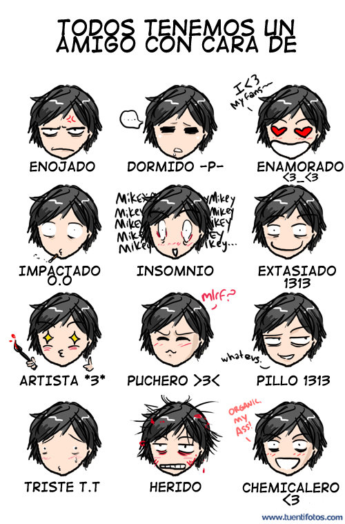 Dibujos de Doce Caras De Amigos