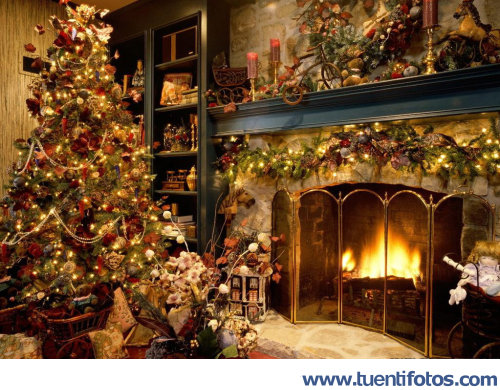 Casa en plena navidad for Casas decoradas de navidad interiores