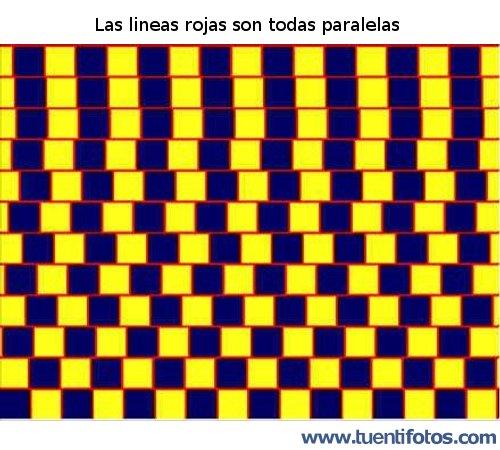 Ilusiones de Las Lineas Rojas Paralelas