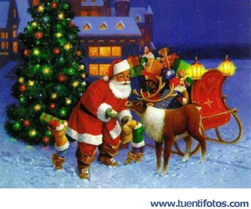 Navidad de Papa Noel Alimenta A Rudolf