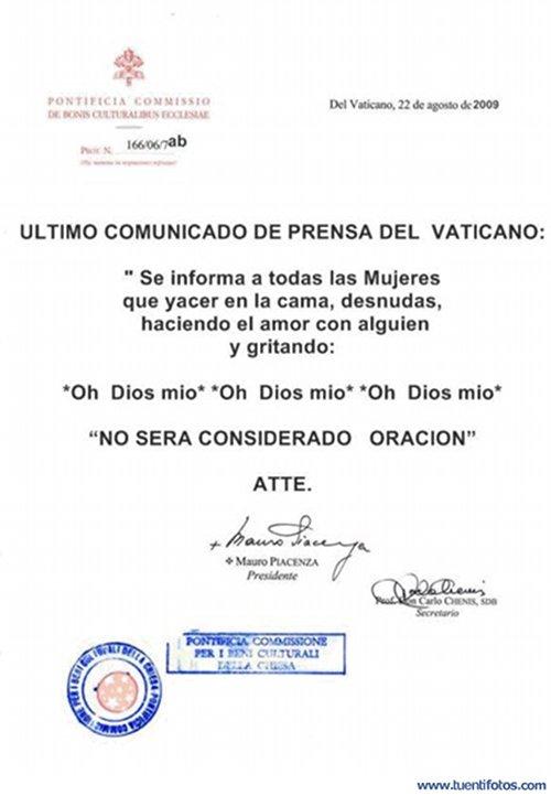Bromas de Comunicado De Prensa Del Vaticano